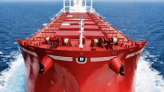 Berge Bulk red ship at sea