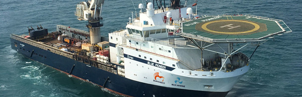 Blue Marine vessel sails at sea